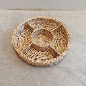 Vintage light wicker divided basket tray